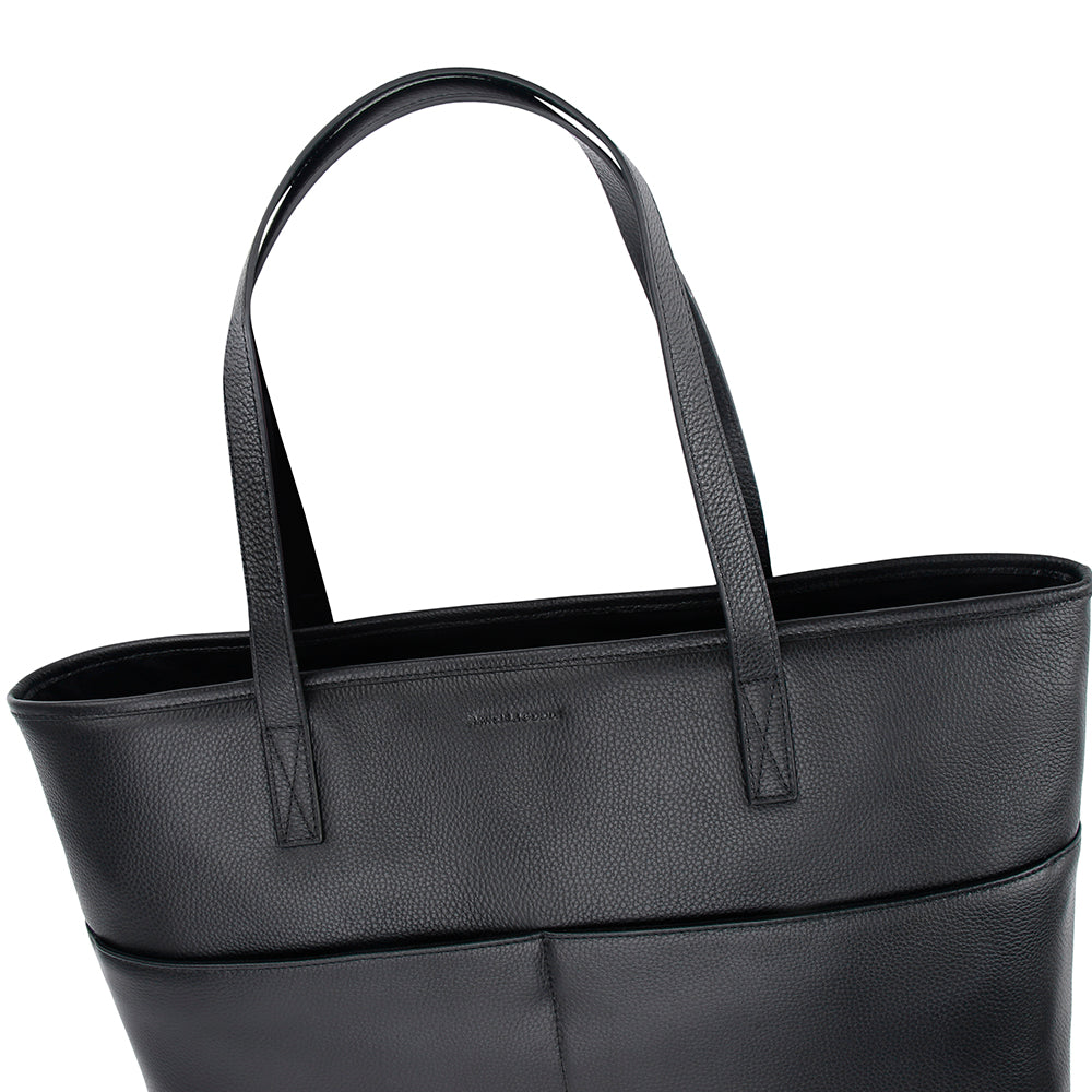 Large Multi Pockets Tote No° J1 - Black Pebble Grain