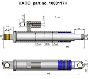 Lift Ram Cylinder HACO to suit MBB 1346953 & 1406405 , Haco Tail Lift Parts - HACO, Nationwide Trailer Parts Ltd - 2