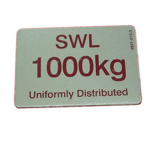 1000KG SWL Sign , Ratcliff Tail Lift Parts - Ratcliff, Nationwide Trailer Parts Ltd