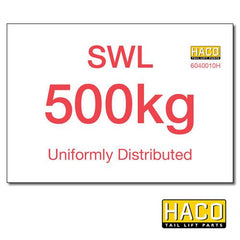 500kg SWL Label HACO , Generic Tail Lift & Electrical Parts - HACO, Nationwide Trailer Parts Ltd