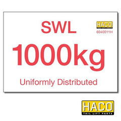 1000kg SWL Label HACO , Generic Tail Lift & Electrical Parts - HACO, Nationwide Trailer Parts Ltd