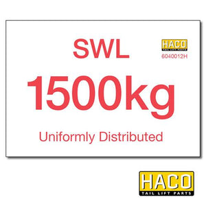 1500kg SWL Label HACO , Generic Tail Lift & Electrical Parts - HACO, Nationwide Trailer Parts Ltd