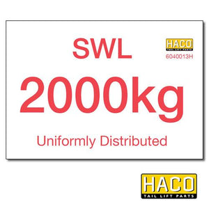2000kg SWL Label HACO , Generic Tail Lift & Electrical Parts - HACO, Nationwide Trailer Parts Ltd