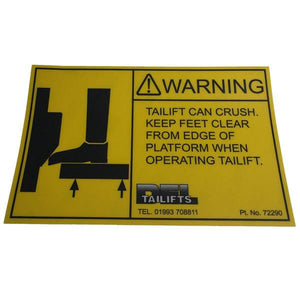 Keep Feet Clear Decal , Del Tail Lift Parts - Del, Nationwide Trailer Parts Ltd