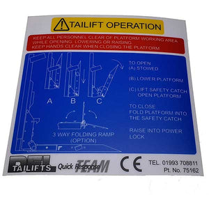 Tail Lift Operation Decal DL1000