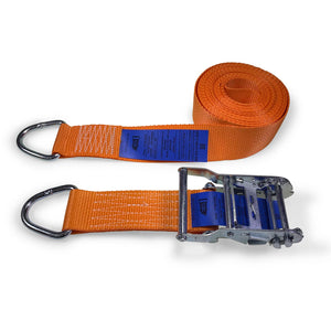 50mm Wide, 6m Max Length Ratchet Straps - Delta Ring Ends
