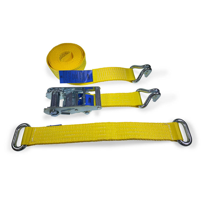Car Transporter Wheel Straps - Claw Hook & Steel Eye Diverter Strap