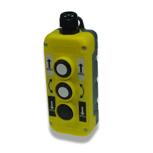 Yellow Push Button Station - Three Way (Up, Down, Tilt) , Tail Lift Control Boxes & Switches - Nationwide Trailer Parts, Nationwide Trailer Parts Ltd
