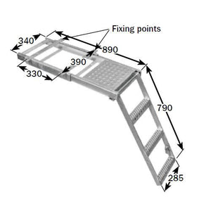 Underbody Access Step with Platform (3 Rung) , Steps & Anti-Slip - Nationwide Trailer Parts, Nationwide Trailer Parts Ltd