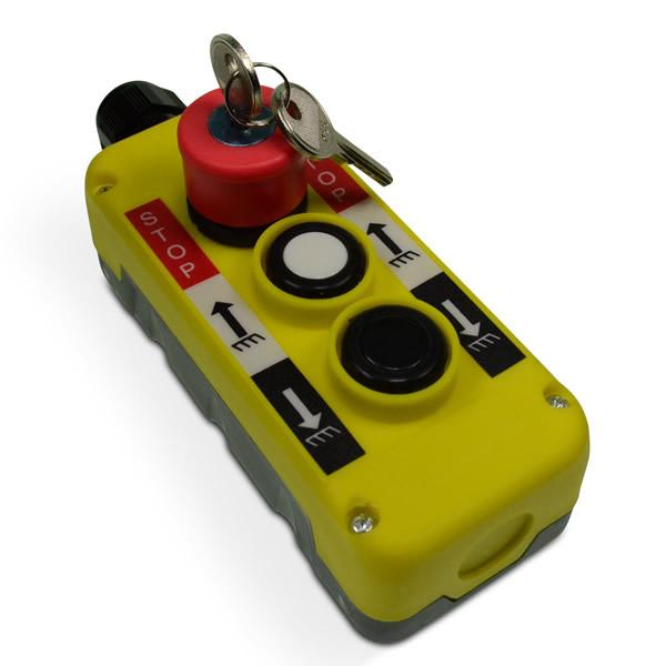 Three Button Mafelec Style Control with Key Release Emergency Stop