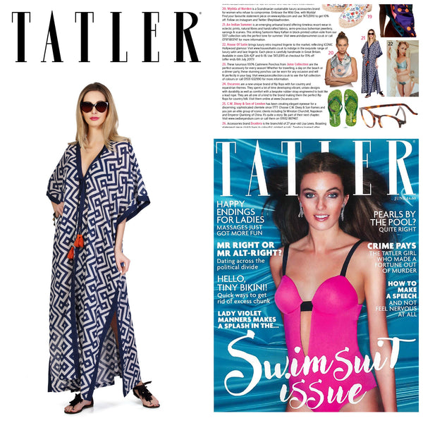 Santorini Maxi Kaftan Navy An Indian Summer As Seen On Tatler Magazine June Edition