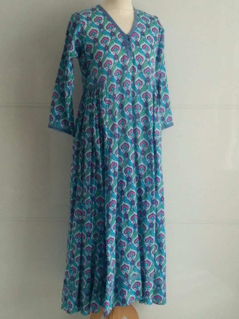Peacock Dress | Hand Block Printed Peacock Pattern Print | Cotton | An Indian Summer
