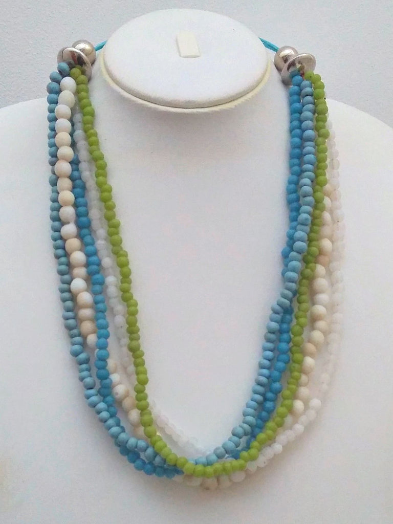 Beaded 5 Strand Necklace - Turquoise & Green - An Indian Summer