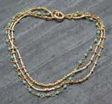 Turquoise Layered Bracelet | Semi Precious Jewellery | 22 Carat Gold Plated | An Indian Summer