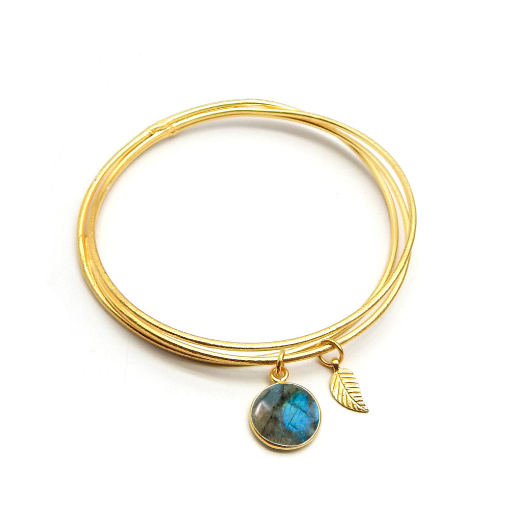 Labradorite Leaf Charm Bangle | Semi Precious Jewellery | 22 Carat Gold Plated | An Indian Summer