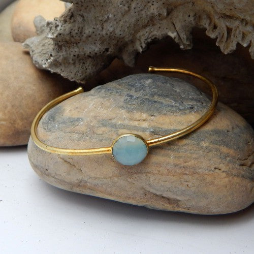 Aqua Chalcedony Bangle | Semi Precious Jewellery | 22 Carat Gold Plated | An Indian Summer