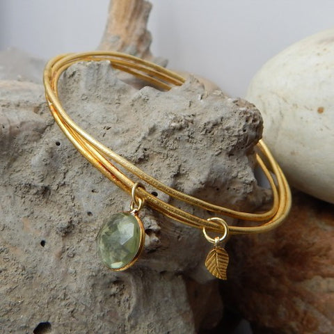 Hydro Green Amethyst Leaf Charm Bangle