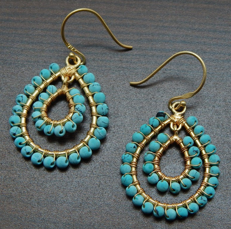 Turquoise Earrings | Semi Precious Jewellery | 22 Carat Gold Plated | An Indian Summer