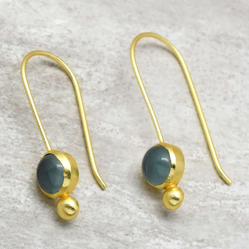 Aqua Chalcedony Drops Earrings | Semi Precious Jewellery | 22 carat Gold Plated | An Indian Summer