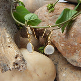White Chalcedony Earrings | Semi Precious Jewellery | 22 Carat Gold Plated | An Indian Summer