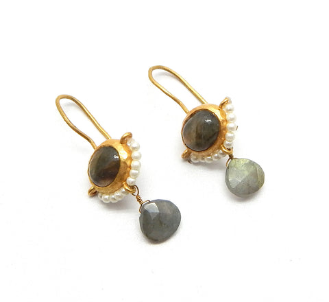 Labradorite & Fresh Water Pearls Earrings - An Indian Summer