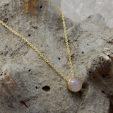 Rose Quartz Dot Necklace - An Indian Summer