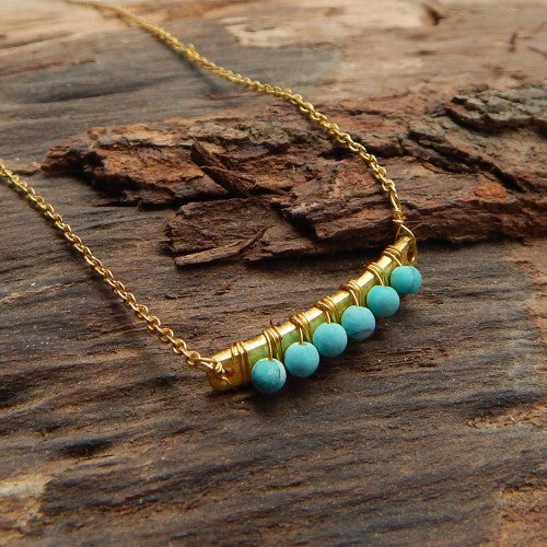 Turquoise Row Necklace - an indian summer