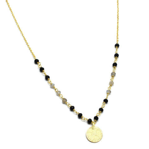 Black Onyx & Labradorite Disc Necklace - An Indian Summer