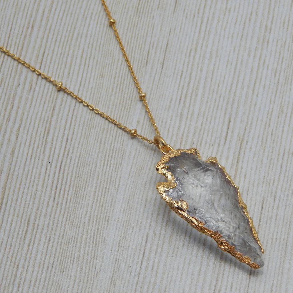 Crystal Quartz Druzy Arrowhead Necklace | Semi Precious Jewellery | 22 carat Gold Plated | An Indian Summer