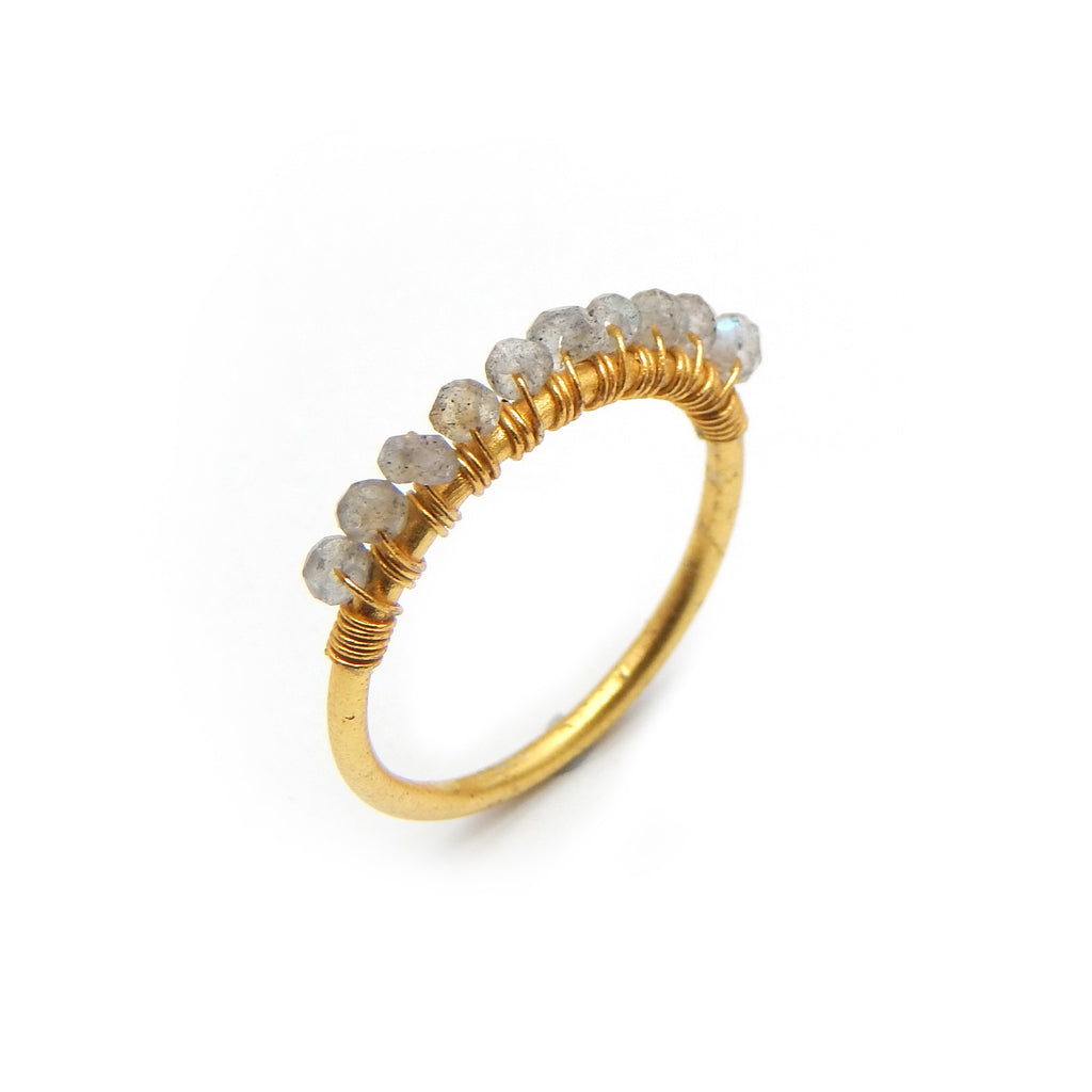 Labradorite Row Ring | Semi Precious Jewellery | 22 Carat Gold Plated | An Indian Summer