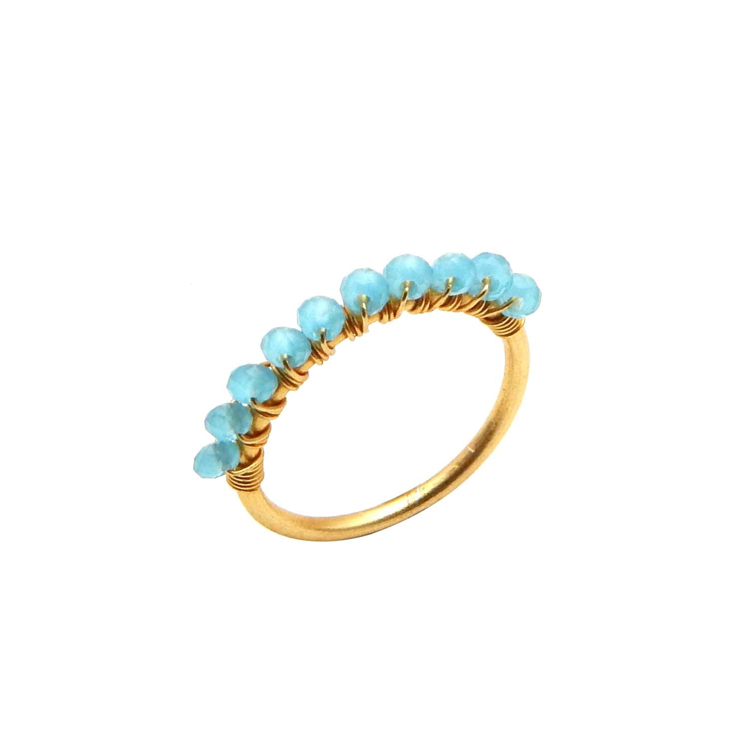 Aqua Chalcedony Row Ring - An Indian Summer