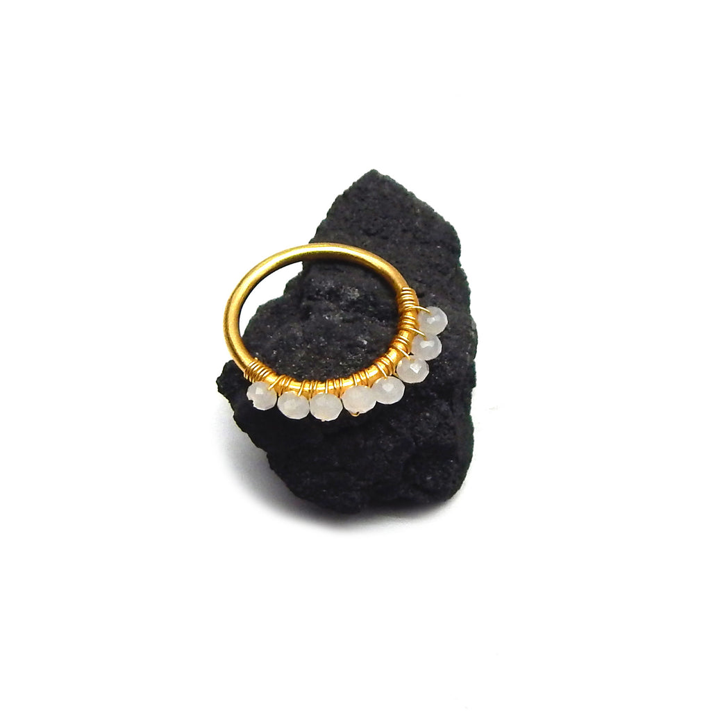 White Chalcedony Row Ring | Semi Precious Jewellery | 22 Carat Gold Plated | An Indian Summer