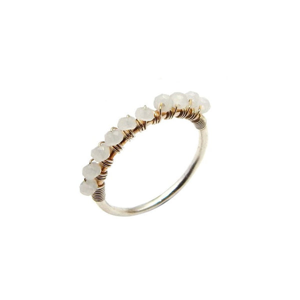 White Chalcedony Row Ring - An Indian Summer