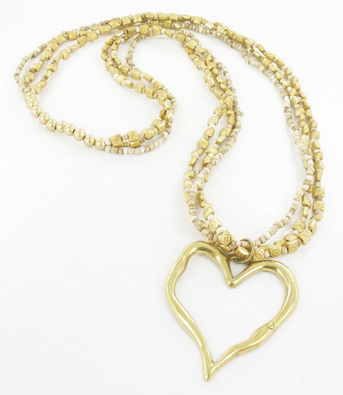 Long 3 Strand Beaded Heart Necklace - an indian summer