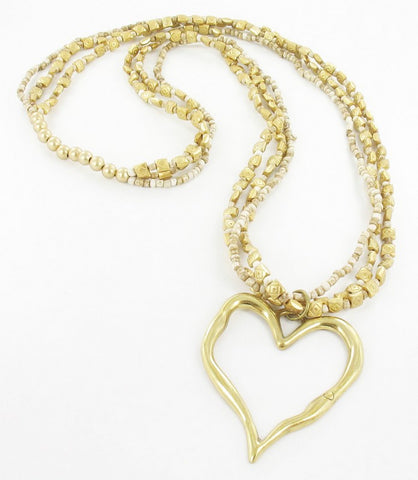Long 3 Strand Beaded Heart Necklace