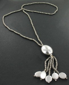 Silver Pebbles Tassel Necklace - an indian summer