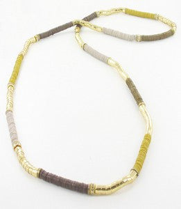 Long Multi-Stacked Sequins Necklace - Brown & Cream