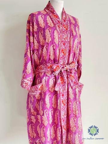 Kimono Robe | Paisley | Purple & Orange | Paisley Block Print | Hand Block Printed | Cotton Voile | An Indian Summer | Seasonless Timeless Sustainable Ethical Authentic Artisan Conscious Clothing Lifestyle Brand