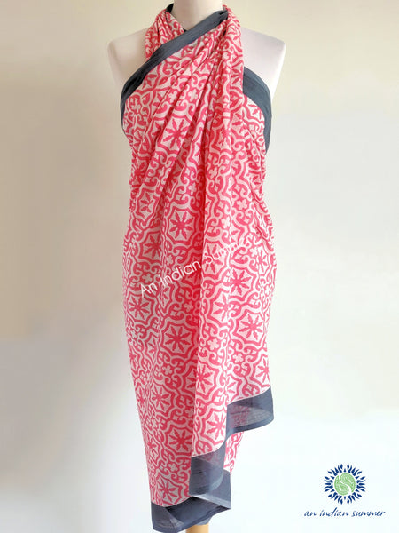 An Indian Summer | Alpona Sarong Pareo | Tile Print | Pink & Grey | Soft Cotton | Hand Block Printed