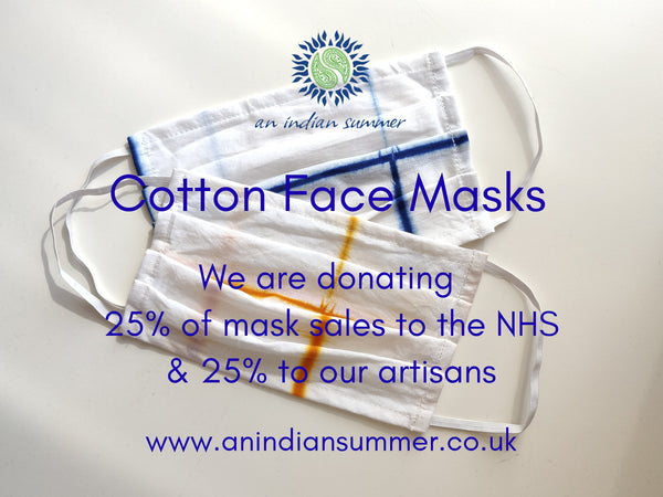 Cotton Face Mask | Handmade | Sustainable Hand Block Printed & Shibori Tie Dye | Cotton | An Indian Summer | Donations to the NHS & Artisans | Handmade | Sustainable & Sustainably Made