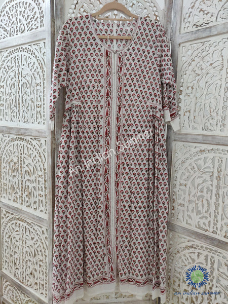 Red Buti | Floral Kaftan Dress | Mughal Floral Block Print | Hand Block Printed | Cotton Voile | An Indian Summer | Seasonless Timeless Sustainable Ethical Authentic Artisan Conscious Clothing Lifestyle Brand