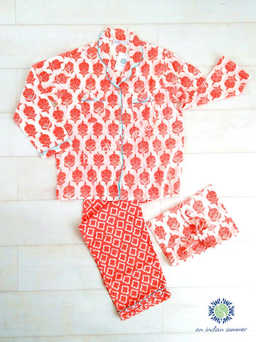Long Pyjama Set Mixed Patterns | Coral with Turquoise Contrast Details | Hand Block Printed Cotton Voile | An Indian Summer | Authentic Seasonless Timeless Sustainable Ethical Artisan Conscious Responsible Clothing