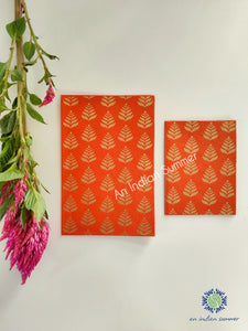 Narangi Orange - Set of 5 Gold Fern Motif Hand Block Printed Cards - An Indian Summer