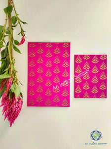 Rani Pink - Set of 5 Gold Fern Motif Hand Block Printed Cards - An Indian Summer