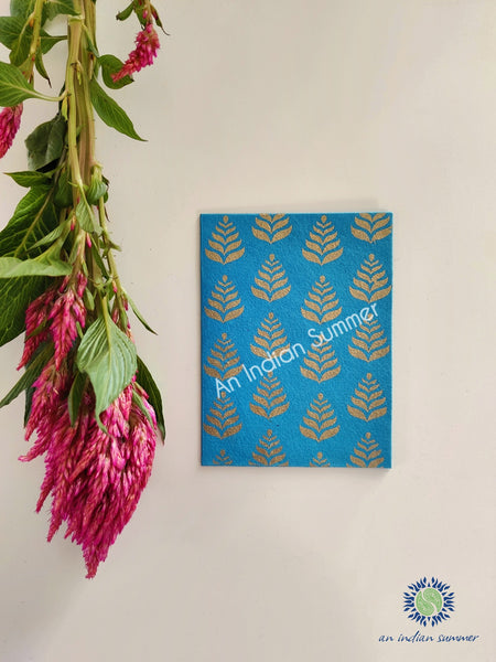 Firoza Turquoise - Set of 5 Gold Fern Motif Hand Block Printed Cards - An Indian Summer