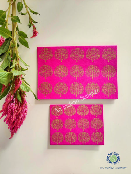 Rani Pink - Set of 5 Gold Tree Motif Hand Block Printed Cards - An Indian Summer