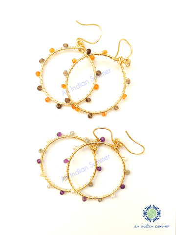 Gem Hoops Earrings | Carnelian Labradorite Amethyst Fresh Water Pearls | 24 Carat Gold Plated | Semi Precious Jewellery | An Indian Summer | Seasonless Timeless Sustainable Ethical Authentic Artisan Conscious Clothing Lifestyle Brand