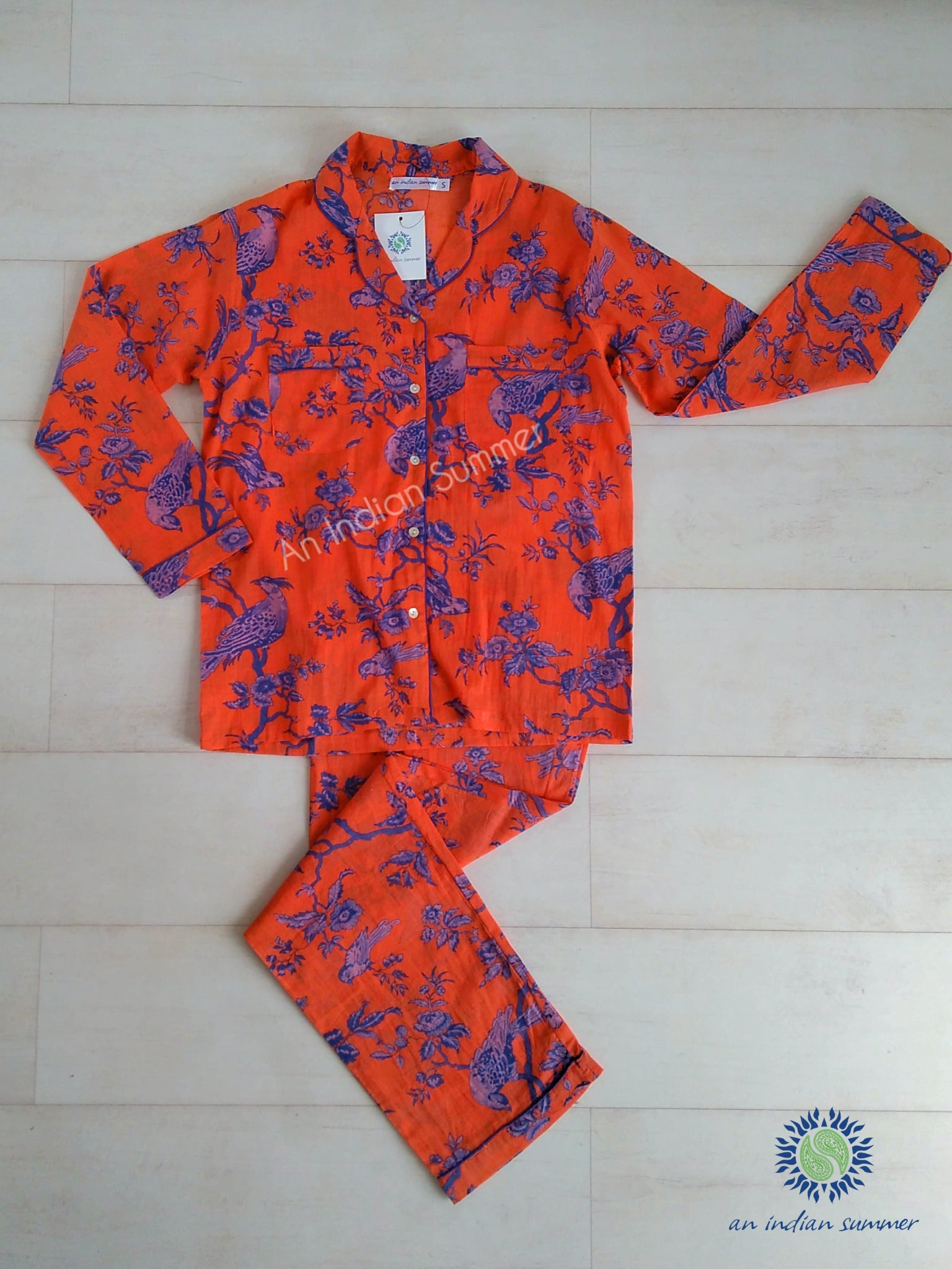 Jacobean Print Pyjama Set | Orange & Blue | Cotton Voile | An Indian Summer | Seasonless Timeless Sustainable Ethical Authentic Artisan Conscious Clothing Lifestyle Brand
