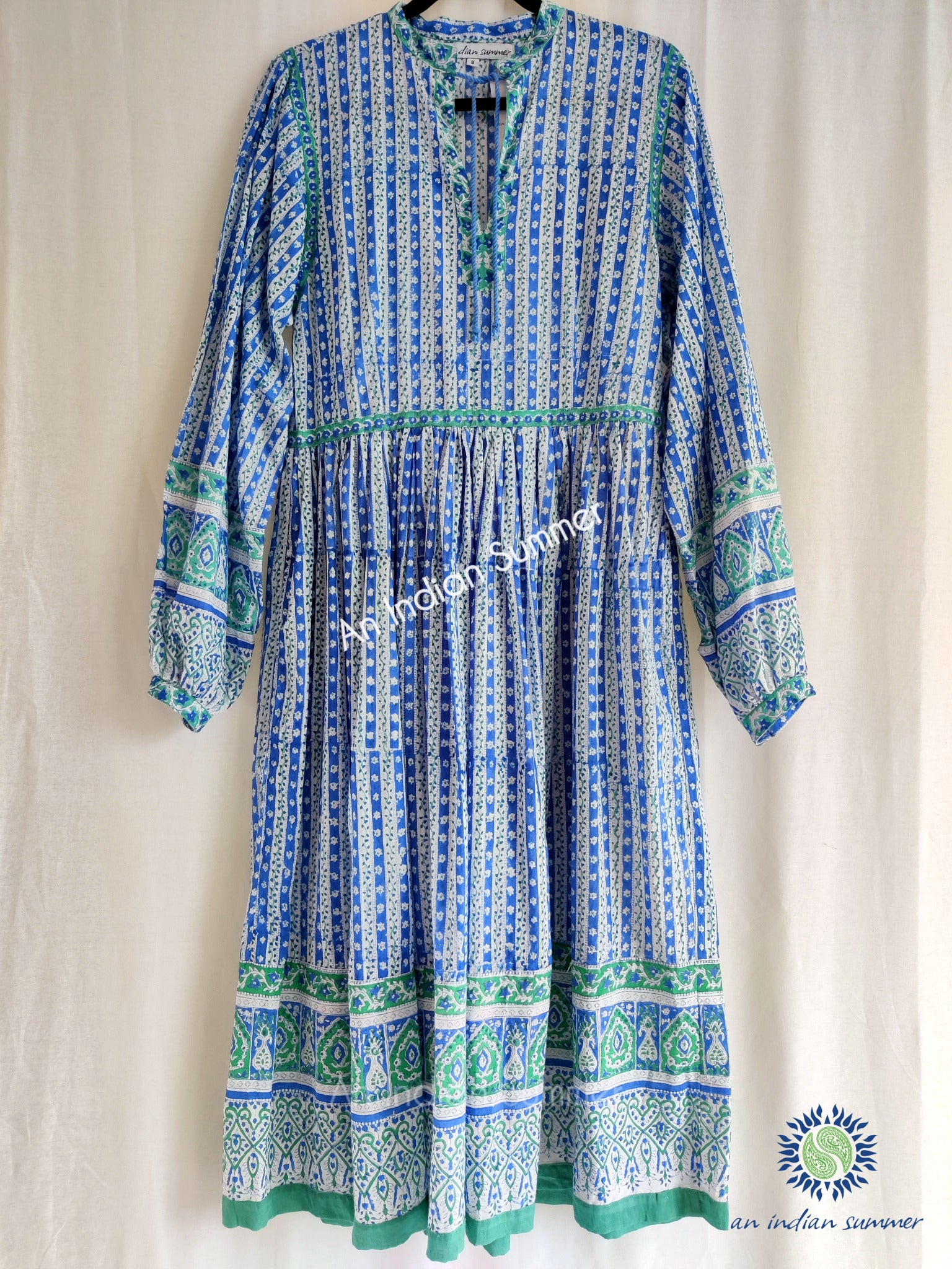 Jennifer Dress | Blue Green | Vintage Style Dress | Hand Block Printed | Cotton Voile | An Indian Summer | Seasonless Timeless Sustainable Ethical Authentic Artisan Conscious Clothing Lifestyle Brand