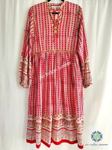 Jennifer Dress | Red Green | Vintage Style Dress | Hand Block Printed | Cotton Voile | An Indian Summer | Seasonless Timeless Sustainable Ethical Authentic Artisan Conscious Clothing Lifestyle Brand